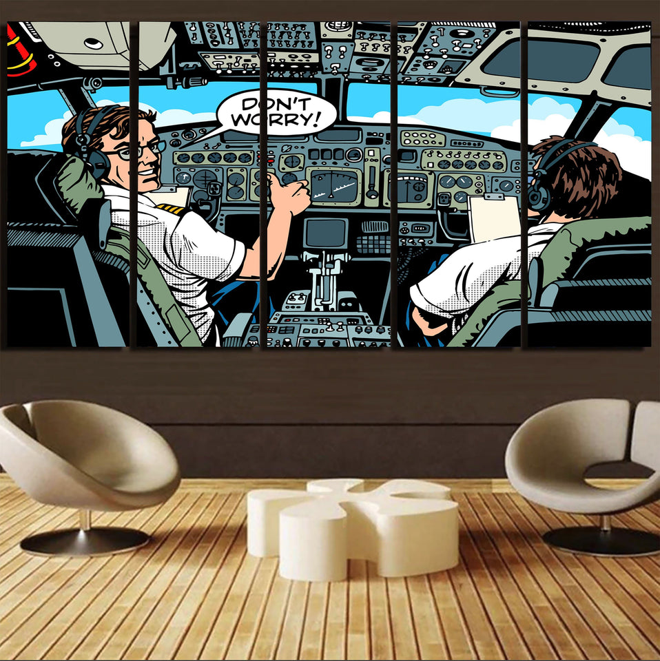 Don't Worry Thumb Up Captain Printed Canvas Prints (5 Pieces) Aviation Shop