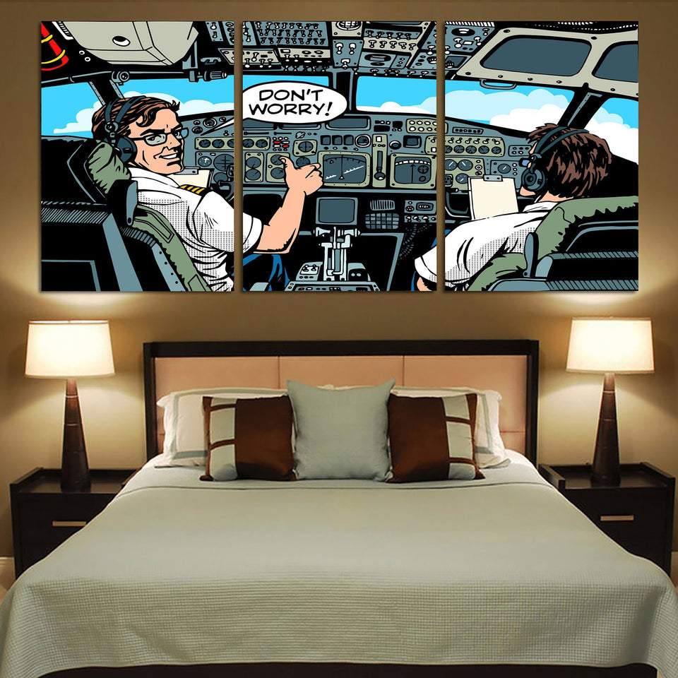 Don't Worry Thumb Up Captain Printed Canvas Posters (3 Pieces) Aviation Shop