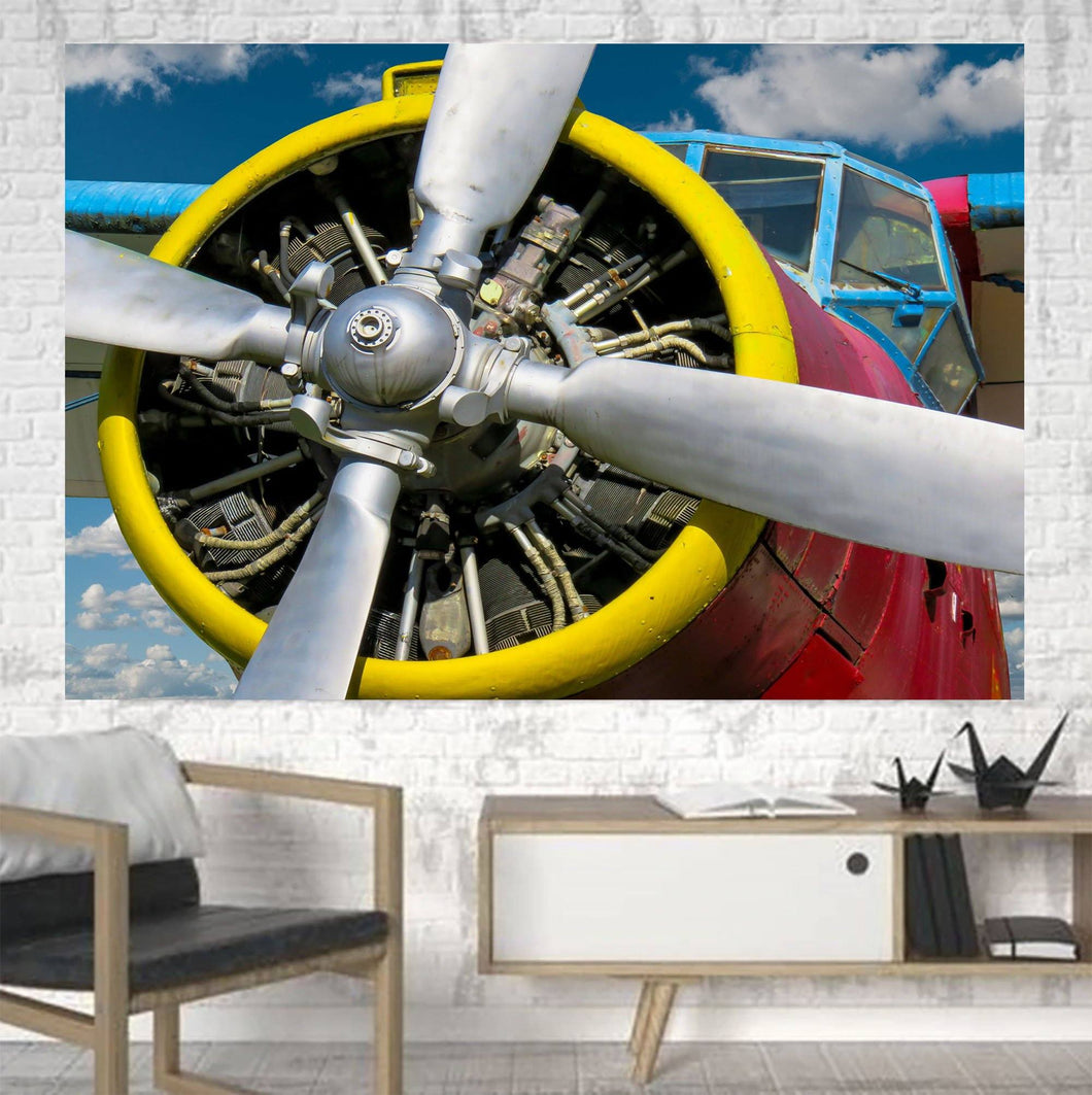 Double-Decker Airplane's Propeller Printed Canvas Posters (1 Piece) Aviation Shop