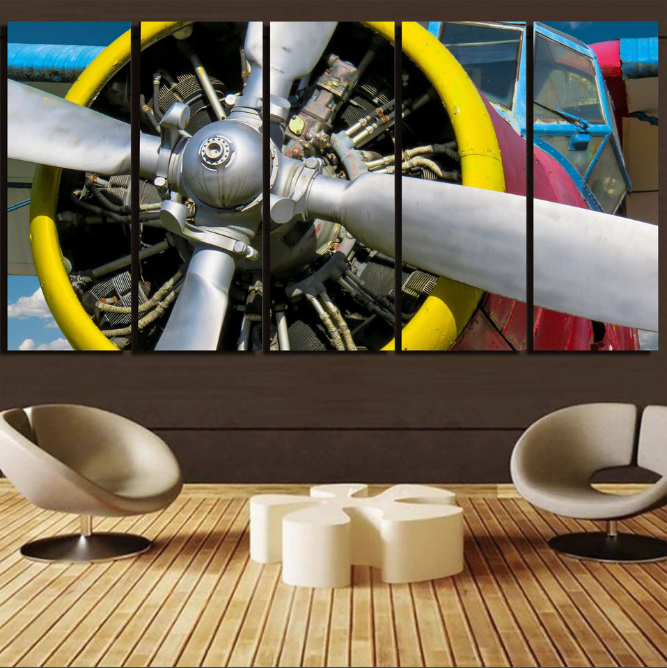 Double-Decker Airplane's Propeller Printed Canvas Prints (5 Pieces) Aviation Shop