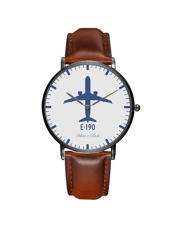 Embraer E190 Leather Strap Watches Pilot Eyes Store Black & Brown Leather Strap