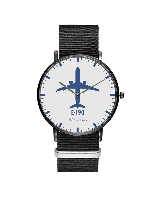 Embraer E190 Leather Strap Watches Pilot Eyes Store Silver & Black Nylon Strap