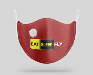 Eat Sleep Fly (Colourful) Designed Face Masks
