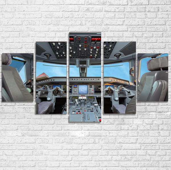 Embraer E190 Cockpit Printed Multiple Canvas Poster