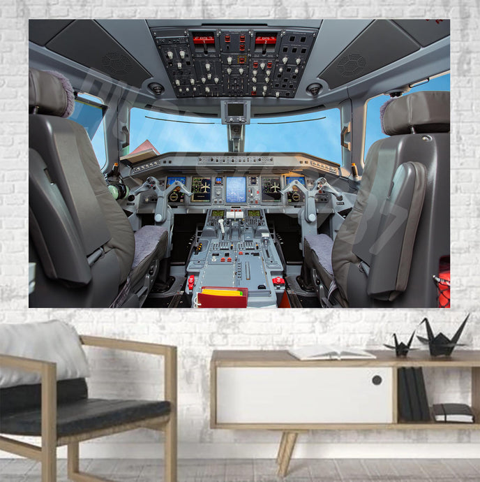 Embraer E190 Cockpit Printed Canvas Posters (1 Piece)