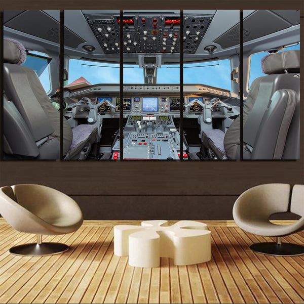 Embraer E190 Cockpit Printed Canvas Prints (5 Pieces)