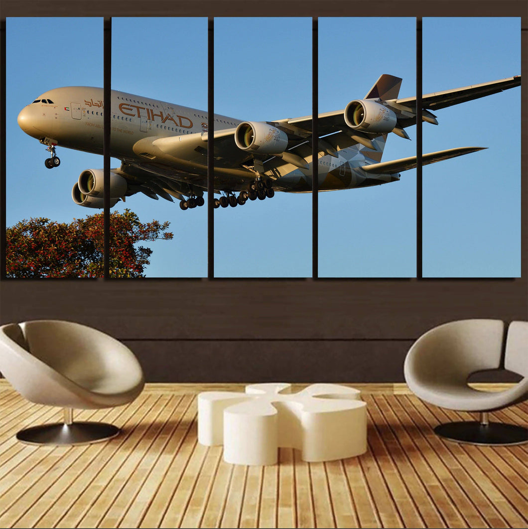 Etihad Airways A380 Printed Canvas Prints (5 Pieces) Aviation Shop