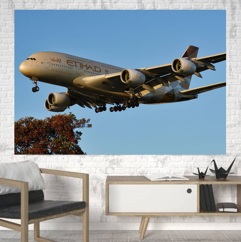 Etihad Airways A380 Printed Canvas Posters (1 Piece) Aviation Shop