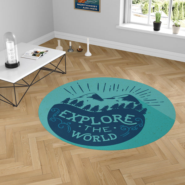 Explore The World Designed Carpet & Floor Mats (Round)