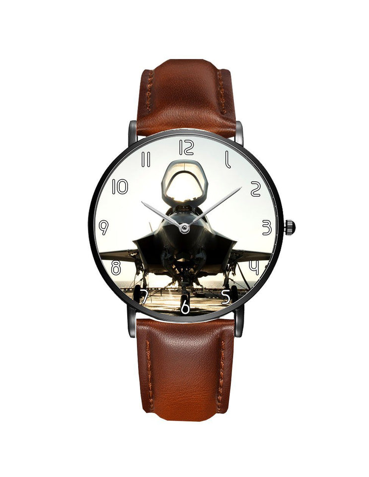 Fighting Falcon F35 Printed Leather Strap Watches Aviation Shop Black & Brown Leather Strap