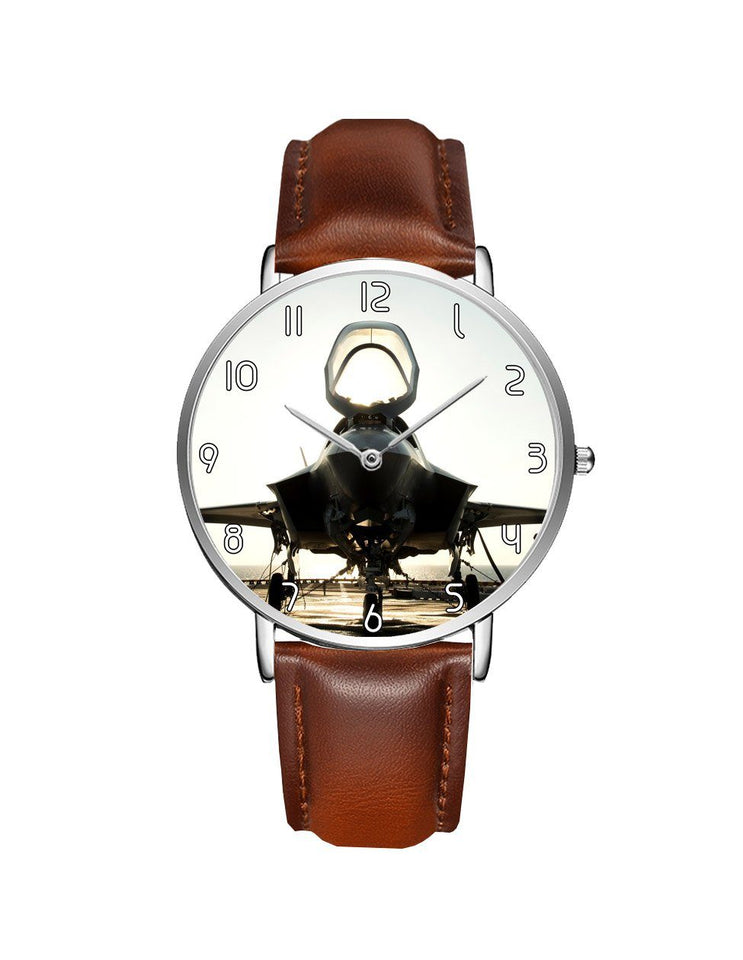 Fighting Falcon F35 Printed Leather Strap Watches Aviation Shop Silver & Brown Leather Strap