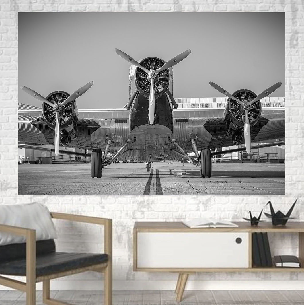 Face to Face to 3 Engine Old Airplane Printed Canvas Posters (1 Piece) Aviation Shop
