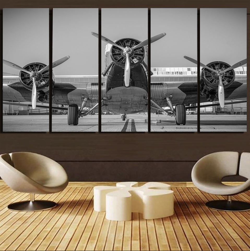 Face to Face to 3 Engine Old Airplane Printed Canvas Prints (5 Pieces) Aviation Shop