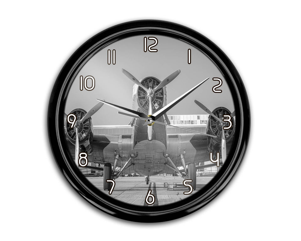 Face to Face to 3 Engine Old Airplane Printed Wall Clocks Aviation Shop