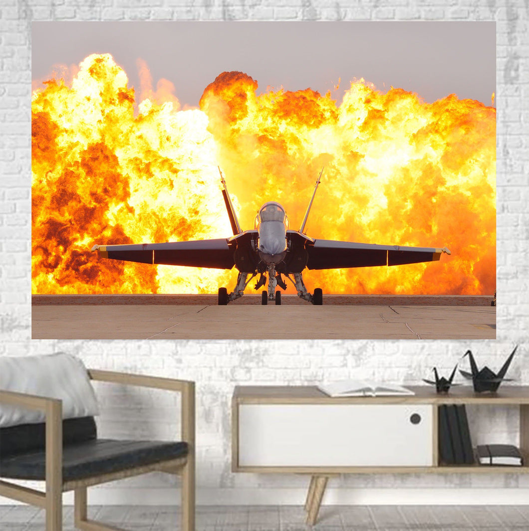 Face to Face with Air Force Jet & Flames Printed Canvas Posters (1 Piece) Aviation Shop