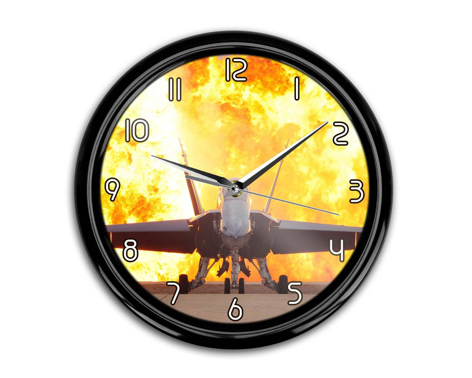 Face to Face with Air Force Jet & Flames Printed Wall Clocks Aviation Shop