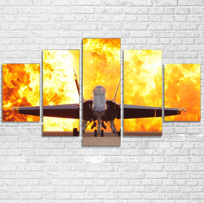 Face to Face with Air Force Jet & Flames Printed Multiple Canvas Poster