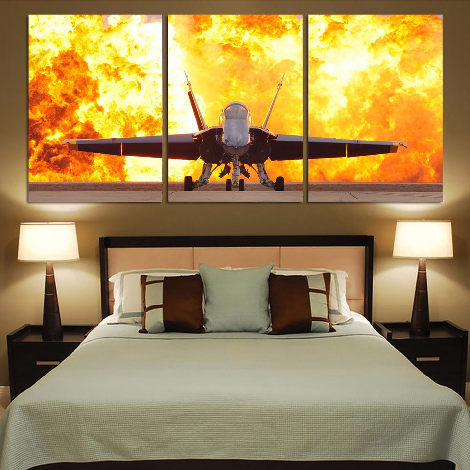 Face to Face with Air Force Jet & Flames Printed Canvas Posters (3 Pieces) Aviation Shop