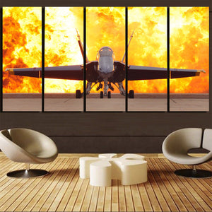 Face to Face with Air Force Jet & Flames Printed Canvas Prints (5 Pieces) Aviation Shop