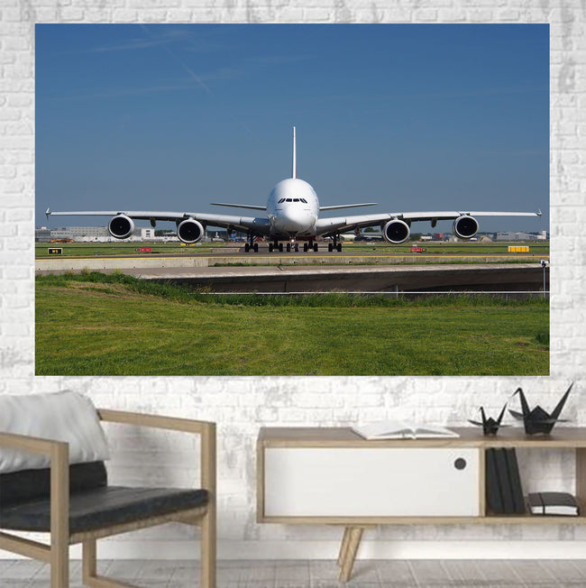 Face to Face with Airbus A380 Printed Canvas Posters (1 Piece) Aviation Shop