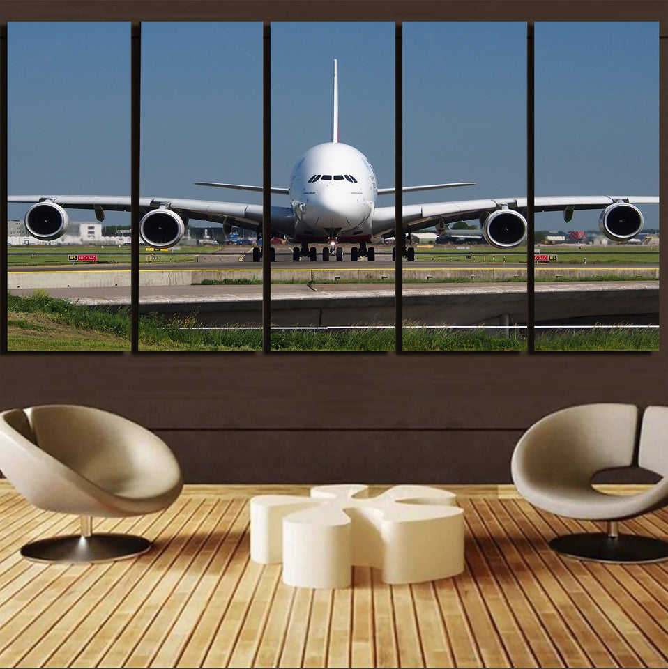 Face to Face with Airbus A380 Printed Canvas Prints (5 Pieces) Aviation Shop