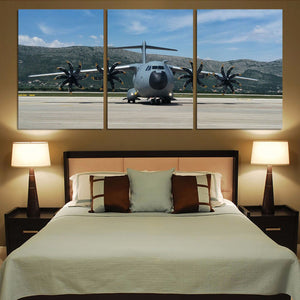 Face to Face with Airbus A400M Printed Canvas Posters (3 Pieces) Aviation Shop