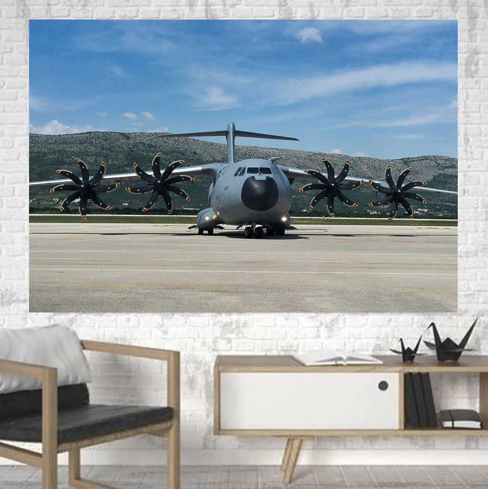 Face to Face with Airbus A400M Printed Canvas Posters (1 Piece) Aviation Shop