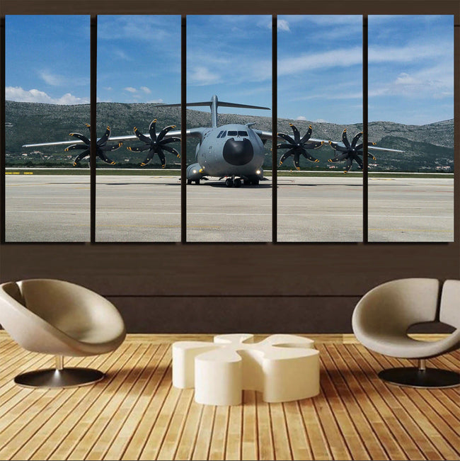 Face to Face with Airbus A400M Printed Canvas Prints (5 Pieces) Aviation Shop