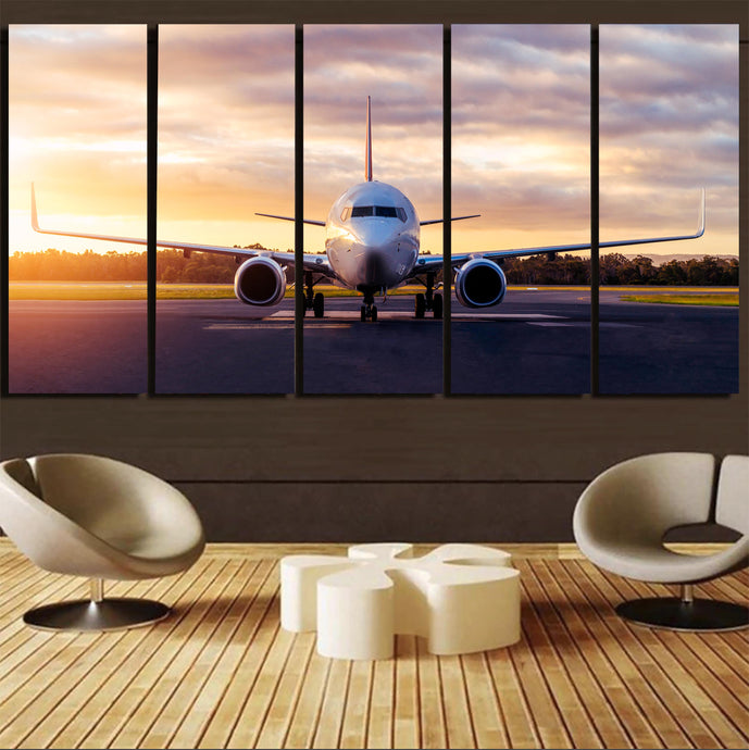 Boeing 737-800 During Sunset Printed Canvas Prints (5 Pieces)