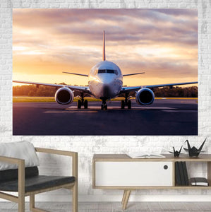 Boeing 737-800 During Sunset Printed Canvas Posters (1 Piece)