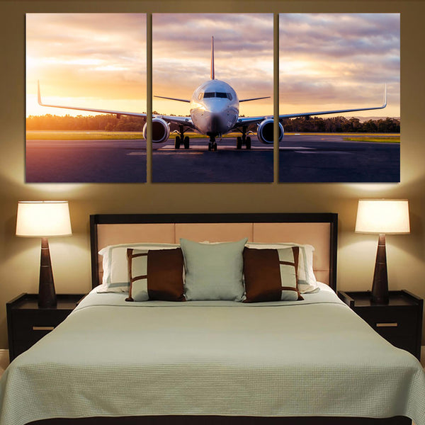Boeing 737-800 During Sunset Printed Canvas Posters (3 Pieces)