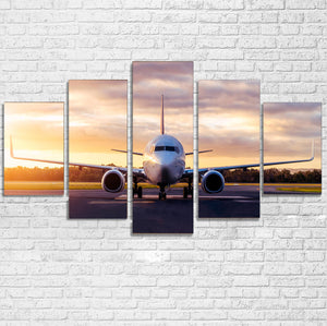 Boeing 737-800 During Sunset Printed Canvas Poster