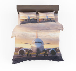 Face to Face with Boeing 737-800 During Sunset Designed Bedding Sets
