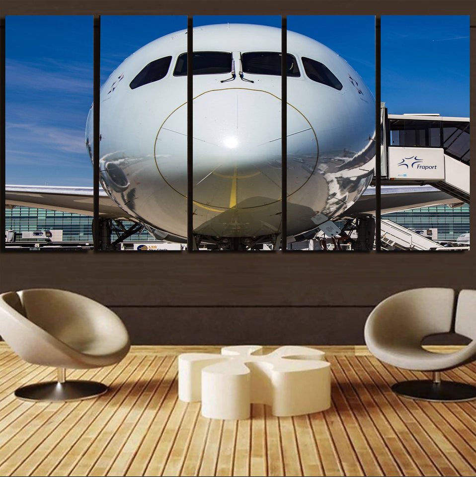 Face to Face with Boeing 787 Printed Canvas Prints (5 Pieces) Aviation Shop