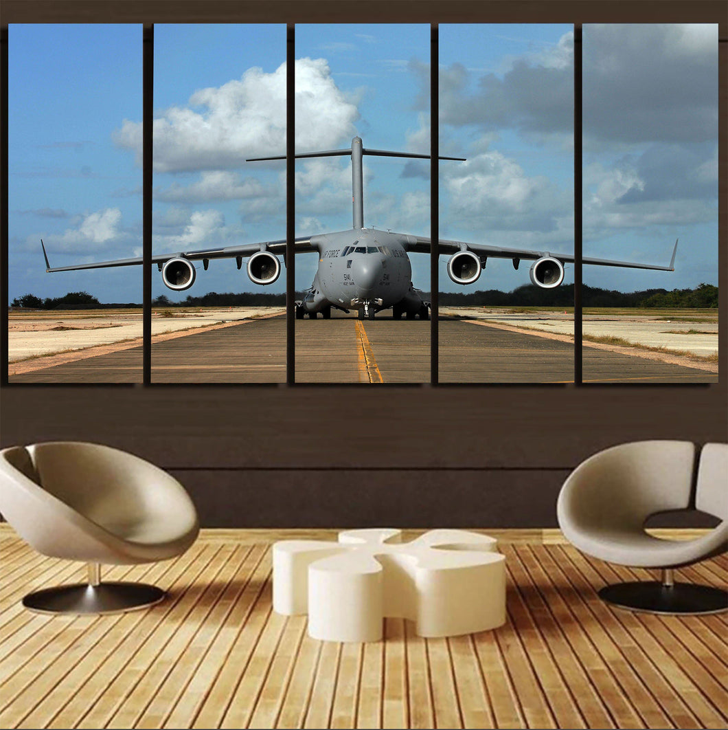 Face to Face with Military Cargo Airplane Printed Canvas Prints (5 Pieces) Aviation Shop