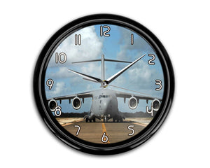 Face to Face with Military Cargo Airplane Printed Wall Clocks Aviation Shop