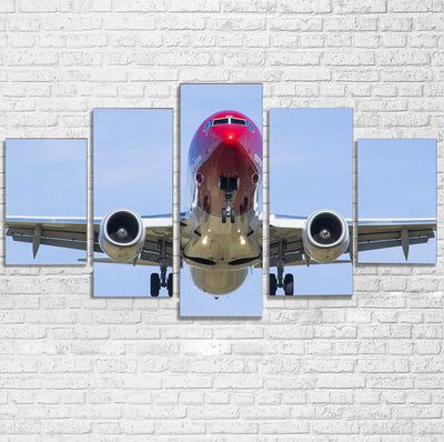 Face to Face with Norwegian Boeing 737 Printed Multiple Canvas Poster