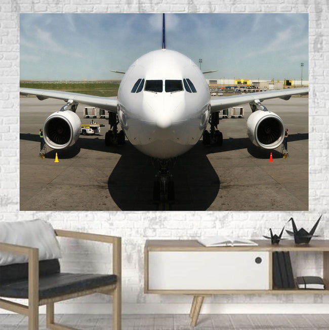 Face to Face with an Huge Airbus Printed Canvas Posters (1 Piece) Aviation Shop