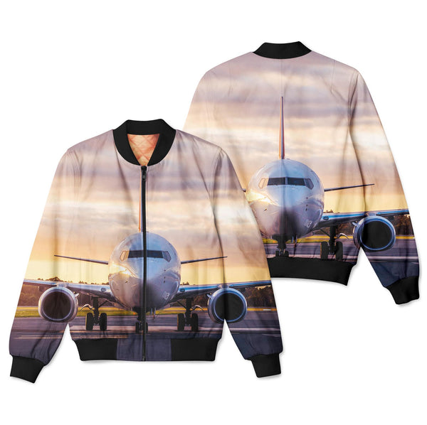 Face to Face with Boeing 737-800 During Sunset Designed 3D Pilot Bomber Jackets