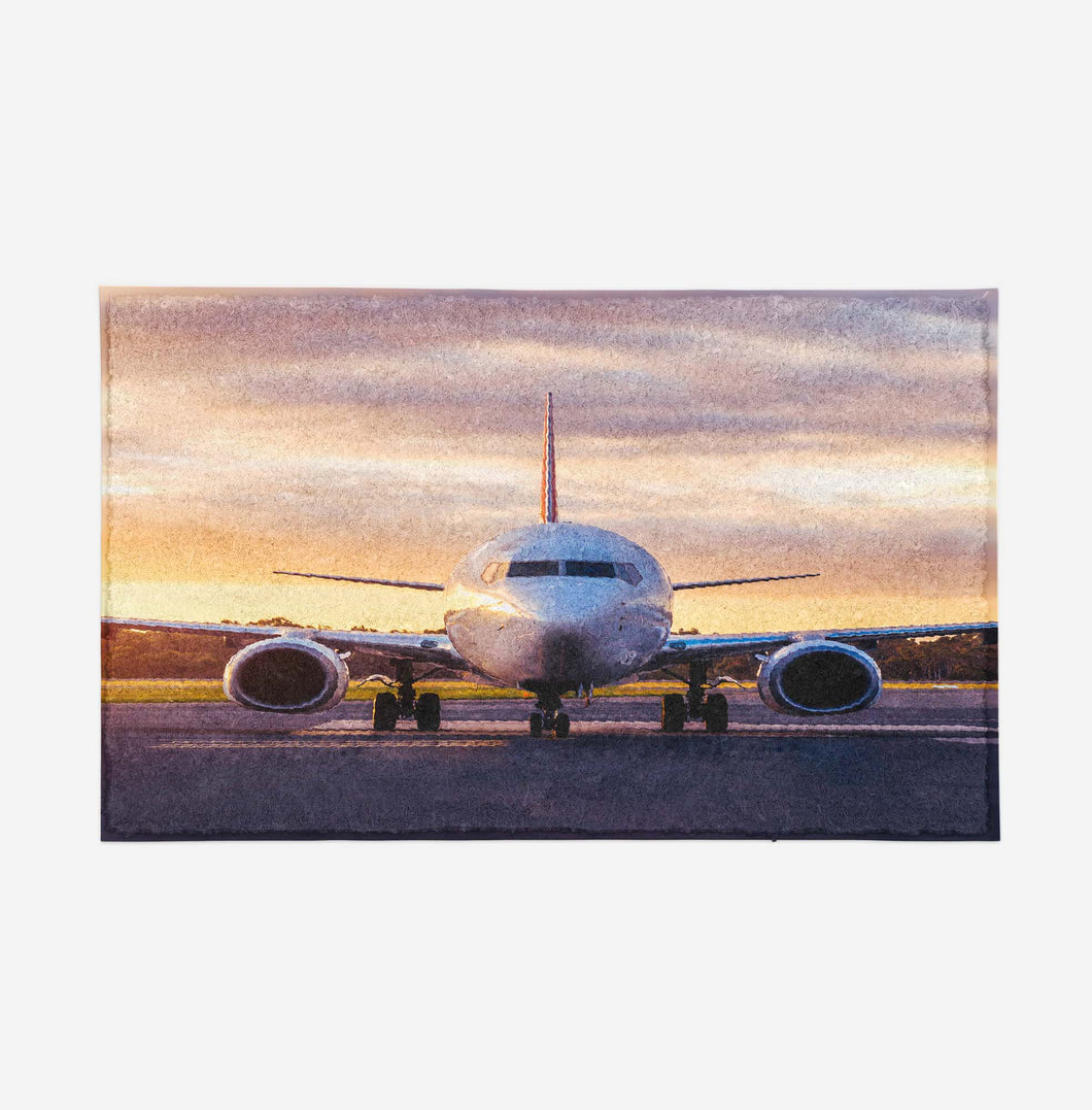 Face to Face with Boeing 737-800 During Sunset Designed Door Mats