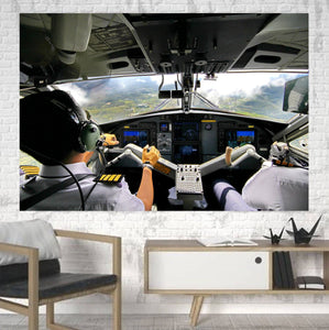 Fantastic Cockpit Shot Printed Canvas Posters (1 Piece) Aviation Shop