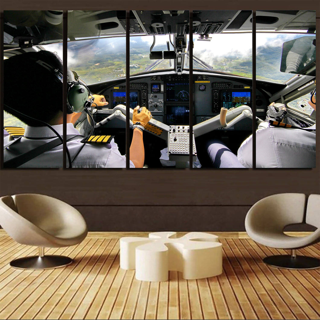 Fantastic Cockpit Shot Printed Canvas Prints (5 Pieces) Aviation Shop