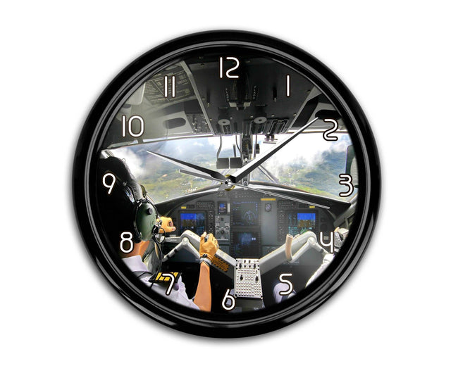 Fantastic Cockpit Shot Printed Wall Clocks Aviation Shop