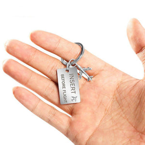 Insert Before Flight Tagged Airplane Key Chain Aviation Shop