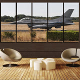 Fighting Falcon F16 From Side Printed Canvas Prints (5 Pieces) Aviation Shop
