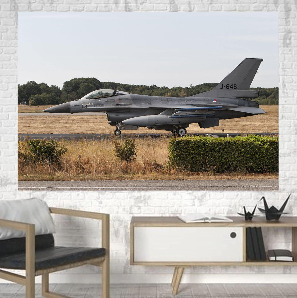 Fighting Falcon F16 From Side Printed Canvas Posters (1 Piece) Aviation Shop