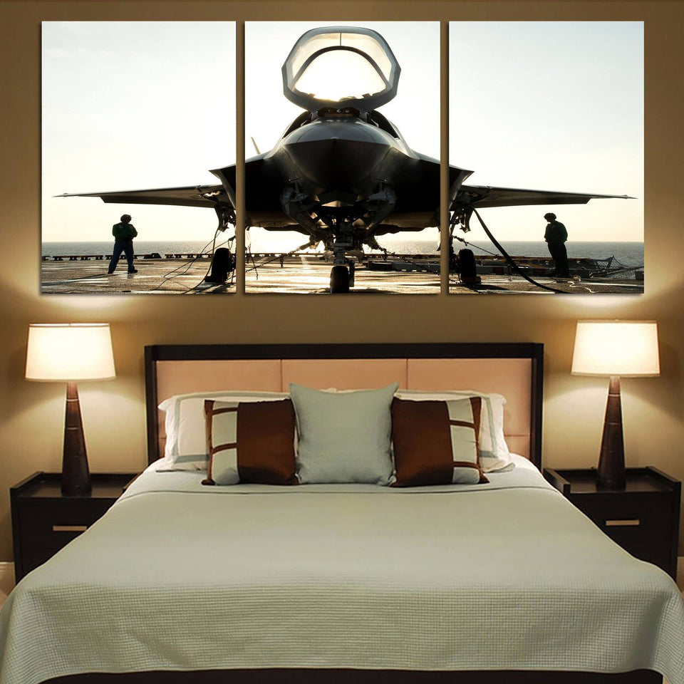 Fighting Falcon F35 Printed Canvas Posters (3 Pieces) Aviation Shop