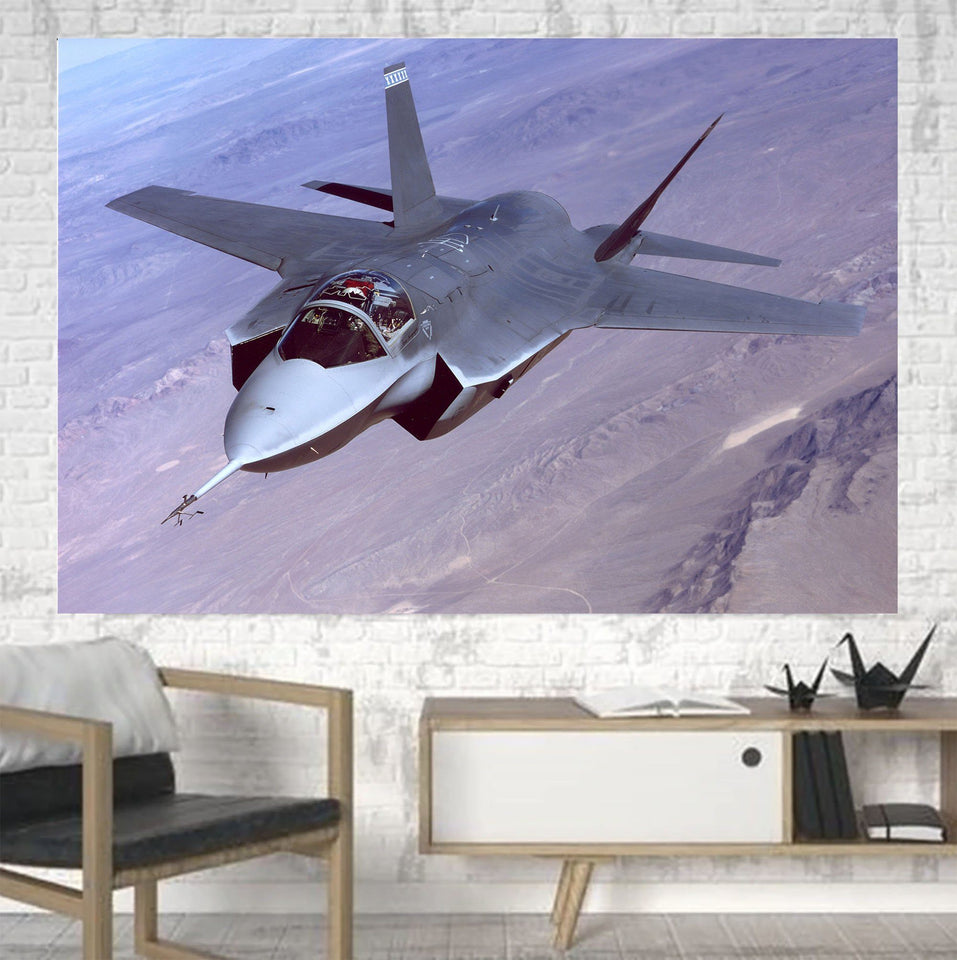Fighting Falcon F35 Captured in the Air Printed Canvas Posters (1 Piece) Aviation Shop