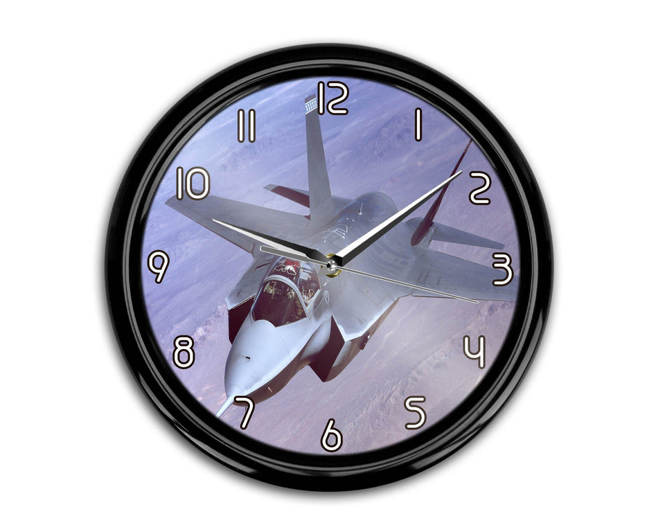 Fighting Falcon F35 Captured in the Air Printed Wall Clocks Aviation Shop