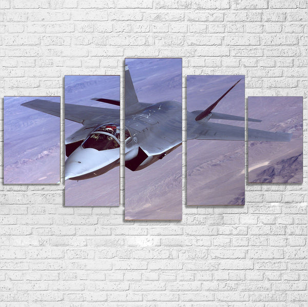 Fighting Falcon F35 Captured in the Air Printed Multiple Canvas Poster